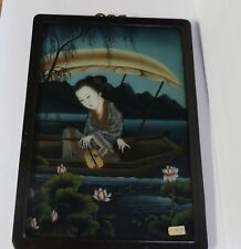 ASIAN/ORIENTAL VINTAGE REVERSE PAINTING ON GLASS - BEAUTIFUL DETAIL