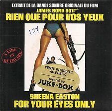 """45 TOURS / 7"""" JUKE BOX--BOF/OST RIEN QUE POUR VOS YEUX--SHEENA EASTON"""