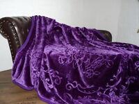 Luxus Tagesdecke Kuscheldecke Wohndecke Decke Plaid violett lila 160x200cm