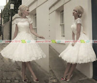 Stock US4/6/8/10/12/14 Short Sleeve Tea Length 1950s Lace Short Wedding Dresses