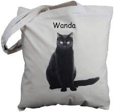PERSONALISED - BLACK CAT DESIGN -  NATURAL COTTON SHOPPING BAG  - shopping tote