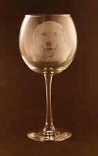 New! Etched Anatolian Shepherd on Large Elegant Wine Glasses - Set of 2