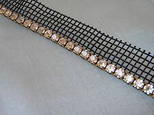 Rhinestone Trim Crystal Banding ~Gold-Black Netting