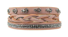 Bracelet Pink Anchor Rhinestone Rockabilly Ella Jonte Wrap-Around Leather