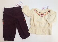 NWT Gymboree Harvest Leaves 12-18 Months Corduroy Embroidered Flower Top & Pants