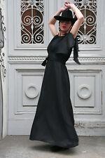Élégant longue robe tenues de soirée 70er True Vintage 70´s Women Dress Long Black