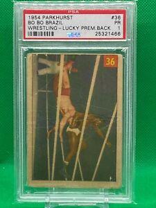 Bo Bo Brazil 1954 Parkhurst Wrestling #36 PSA 1 Rookie Lucky Premium Back WWF
