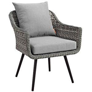 Endeavor Outdoor Patio Wicker Rattan Armchair - Gray