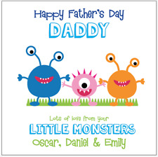 Personalised FATHERS DAY Card Dad Daddy Little monsters