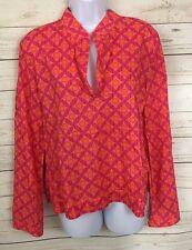 Victoria's Secret Pink Orange Floral Bell Sleeve Loungewear Top Tunic Size M/L