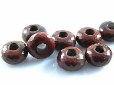Natural Red Jasper Faceted Roundel Large Hole European Beads 8x14xmm 5 Pcs