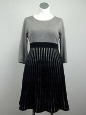 Calvin Klein XL 14/16 Knit Gray Black Striped Sweater Dress BabyDoll Empire