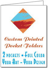 50 Printed Presentation Folders, Full Color Custom 2-Pocket, Your Logo and Text