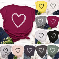 Womens Heart Blouse Loose Casual Ladies T Shirt Tee Holiday Short Sleeve Tops