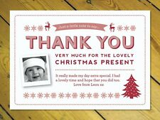 12 Thank you Christmas cards photo personalised inc. envelopes