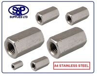 A4 STAINLESS STEEL THREADED ROD CONNECTOR DEEP NUT M5 TO M24 GR316 DEEP HEX NUT