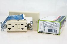 LEVITON N7899-I IVORY WHITE SLIM GFCI OUTLET WITH WALLPLATE! NEW IN BOX! (F32)