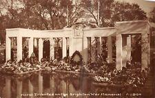 POSTCARD    SUSSEX     BRIGHTON    War  Memorial   Floral  Tributes      RP