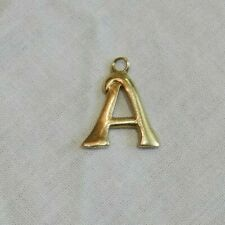 14K Yellow Gold Letter A Charm