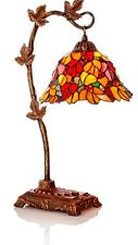 "Accent Table Lamp, Tiffany Stained Glass ""Harvest Leaves"""
