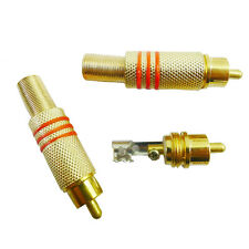 2PCS Gold Plated RCA Plug Audio Male BNC Connector Metal Spring for CCTV Camera