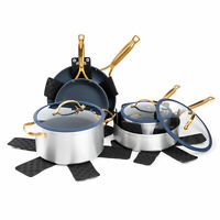 12 Piece Nonstick Cookware Set Navy Pots Pans Saucepan Fry pan With Glass Lids