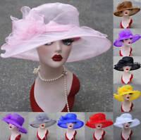 Occasional Kentucky Derby Wide Brim Womens Organza Sun Hats Church Wedding A002