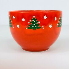 """Waechtersbach Germany Cereal Soup Bowl 5"""" Red Christmas Holiday Tree Stars"""