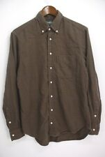 Gitman Vintage Men's Button Down Moleskin Flannel Shirt - Brown Check - Medium