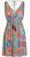 BNWT NEXT new Ladies summer holiday short floral bright aqua dress tie neckline