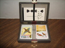 TWO Decks PHEASANT Playing Cards in Vintage Case + Bridge Score Pad Great Shape
