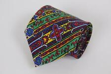 TURNBULL & ASSER Silk Tie. Whimsical Red Yellow Green Pattern. Made in England.