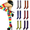 Rainbow Striped Women Long Thigh High Stocking Over the Knee Sock For Christmas