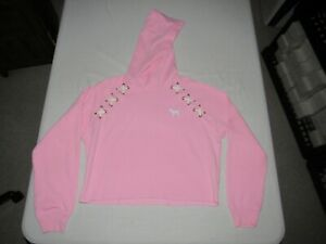 Victoria's Secret Pink Women's Pink Mid Drift Cut Off Hooded Sweatshirt Size XS