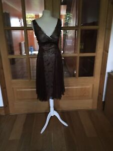 Ann- Louise Roswald, stunning pure silk cocktail dress,size10s Brown & pink.