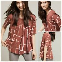 Anthropologie Akemi + Kin Burgundy Light Streaks Mixed Media Swing Top Med