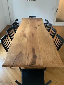 Massivholzplatte 45mm Eiche geölt natur Tischplatte mit Baumkante Holzplatte