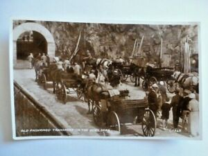 VINTAGE POSTCARD OLD FASHIONED TRANSPORT ON THE QUAY SARK REAL PHOTOGRAPH  (C28)