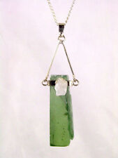BUTW Raw Polished Green Kyanite Pendant with Quartz Accent Stone & Chain 8693K