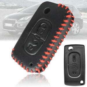Car Leather Key Shell Cover Case Fob 2 Button For Peugeot 207 307 308 3008 5008