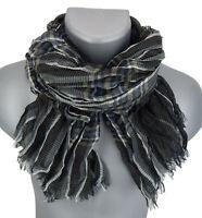 Ella Jonte Herrenschal schwarz braun grau weiß leichter Schal Baumwolle Viskose