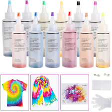 Ucradle Tie Dye Kit, 12pcs Tie-Dye Kit Fabric Textile Paints Vibrant Fabric Text