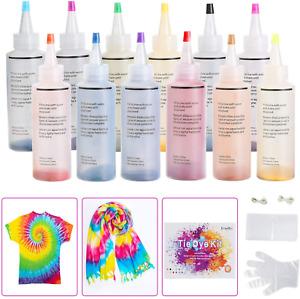 Ucradle Tie Dye Kit, 12pcs Tie-Dye Kit Fabric Textile Paints Vibrant Fabric Text
