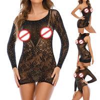 Women Bodycon Sexy Evening Club Cocktail See Through Mesh Sheer Party Mini Dress
