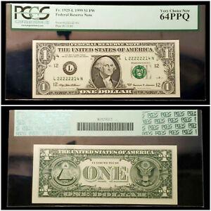 Fr.1925-L Series 1999 One Dollar $1 FRN - PCGS 64 PPQ - Fancy Serial# L22222214N