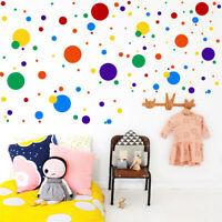 Colorful Rainbow Wall Decal Polka Dot Vinyl Sticker Nursery Baby Kids Room Decor