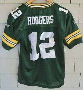 Green Bay Packers AARON RODGERS Reebok JERSEY #12 - Boys Large (14-16), Green