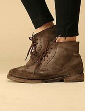 NEW Free People Oxford Lace Up Ankle Boots Size 39 Brown Distressed Leather