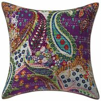Cotton Outdoor Cushion Covers Purple 40cm x 40cm Kantha Paisley Pillow Covers