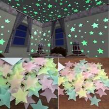 100x Wall Sticker Glow In The Dark Star Luminous Fluorescent Room Ceiling Decor